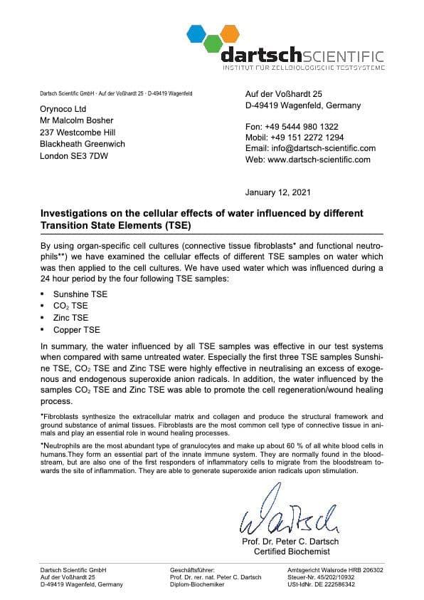 Dartsch Scientific TSE Cellular Research Summary Letter