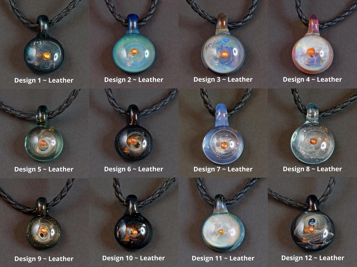 Life Force Jewellery Necklace Pendants w/ Leather Cords - Overview of All Design Options